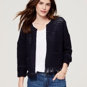 LOFT Open Knit Fringed Cardigan